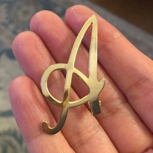 Initial A gold plated brooch